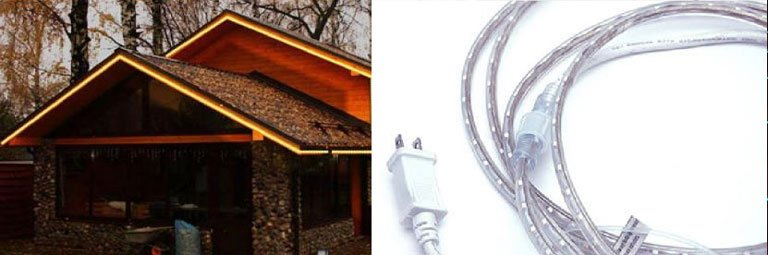 120V LED Strip Lights LED DuraFlex Strip plugs straight into a 120V outlet, no power supply required! They are available in roll lengths of 18 and 100 feet but are connectable, up to a maximum of 124 feet!