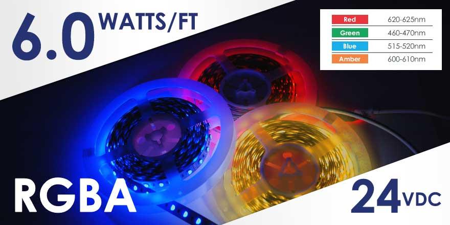 RGBA LED Flex Strip - FA60M50-5M-24V-RGBA - LED World Canada
